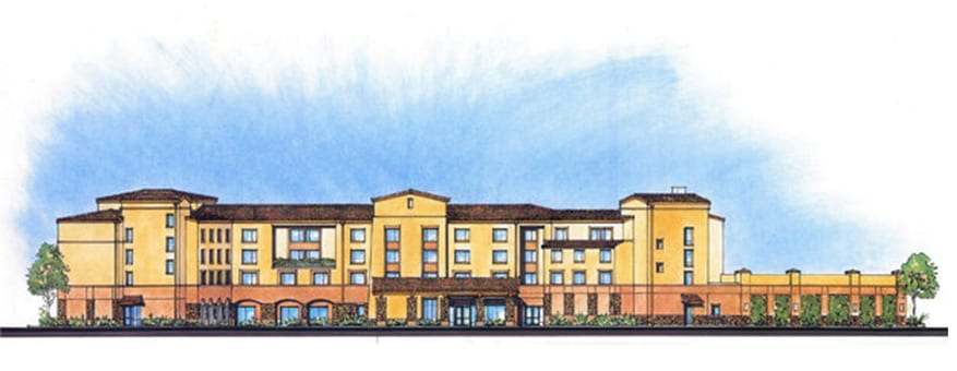 A rendering shows what the SpringHill Suites by Marriott hotel under construction in Atascadero will look like when it's complete in December.